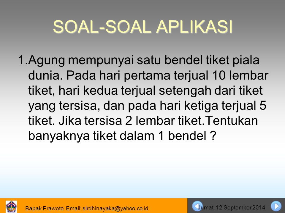 06 April 2017 SOAL-SOAL APLIKASI.