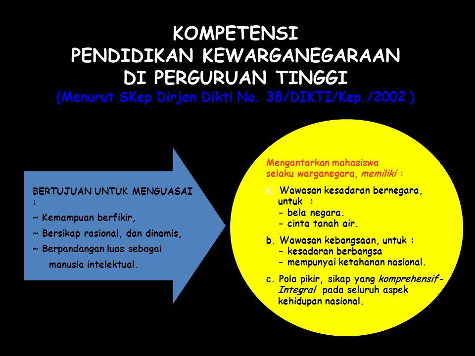 KOMPETENSI PENDIDIKAN KEWARGANEGARAAN DI PERGURUAN TINGGI (Menurut SKep Dirjen Dikti No. 38/DIKTI/Kep./2002 )