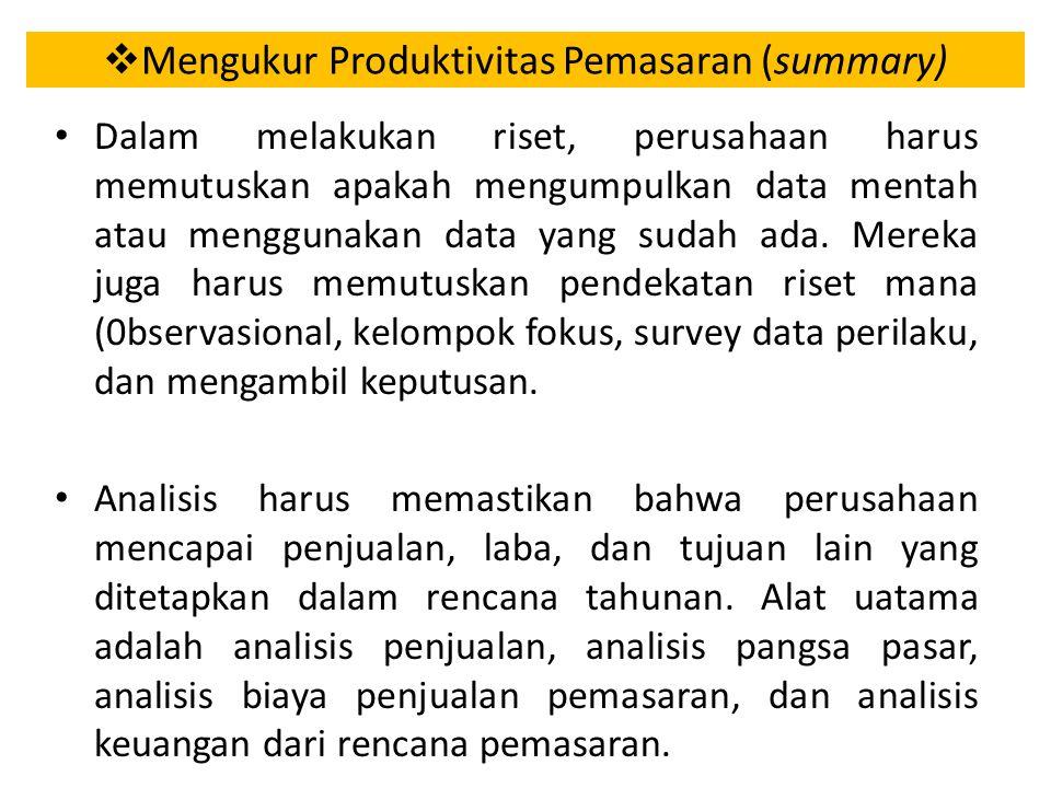 Mengukur Produktivitas Pemasaran (summary)