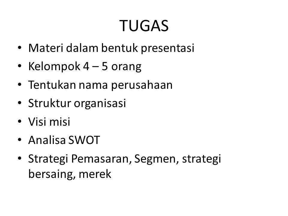 TUGAS Materi dalam bentuk presentasi Kelompok 4 – 5 orang