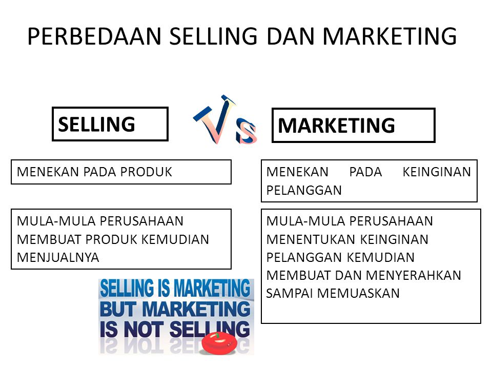 PERBEDAAN SELLING DAN MARKETING