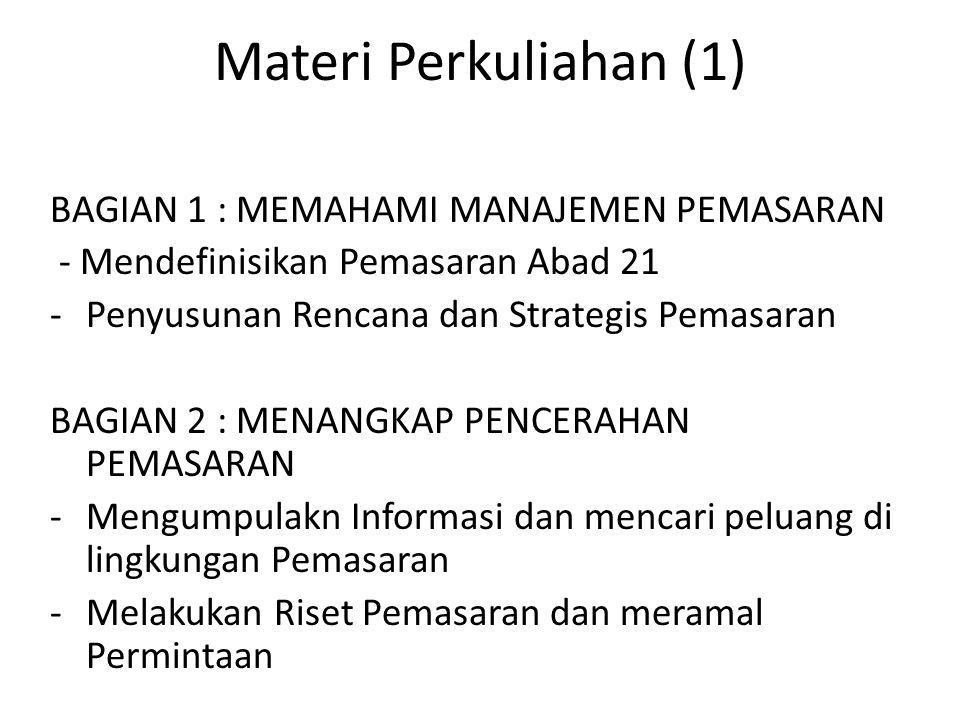 Materi Perkuliahan (1) BAGIAN 1 : MEMAHAMI MANAJEMEN PEMASARAN