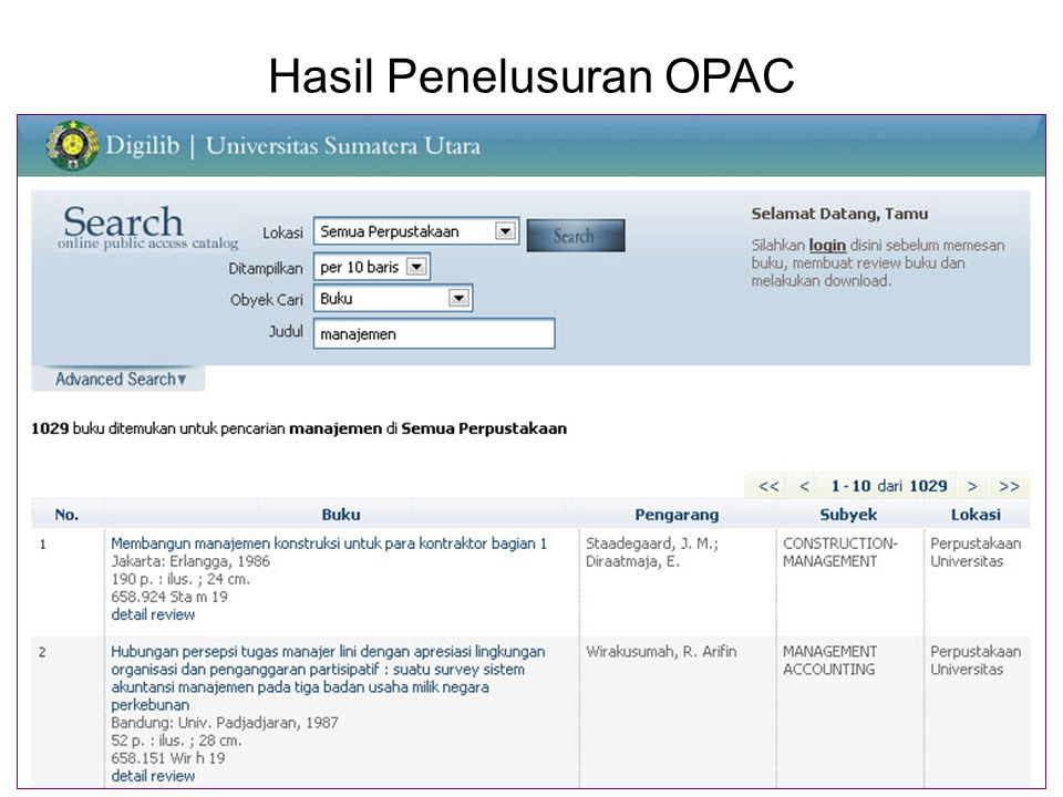 Hasil Penelusuran OPAC