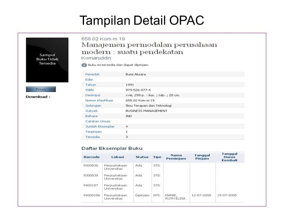 Tampilan Detail OPAC