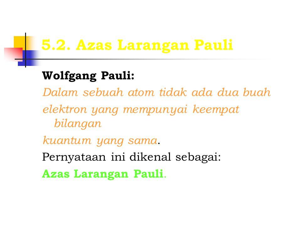 5.2. Azas Larangan Pauli Wolfgang Pauli:
