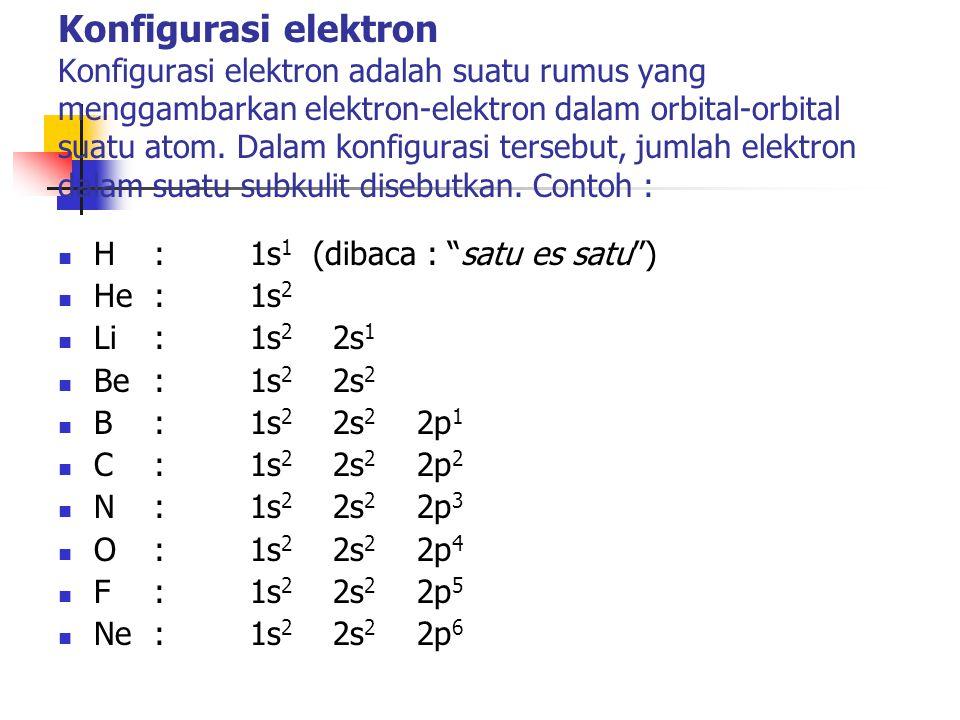 Konfigurasi elektron Konfigurasi elektron adalah suatu rumus yang menggambarkan elektron-elektron dalam orbital-orbital suatu atom. Dalam konfigurasi tersebut, jumlah elektron dalam suatu subkulit disebutkan. Contoh :