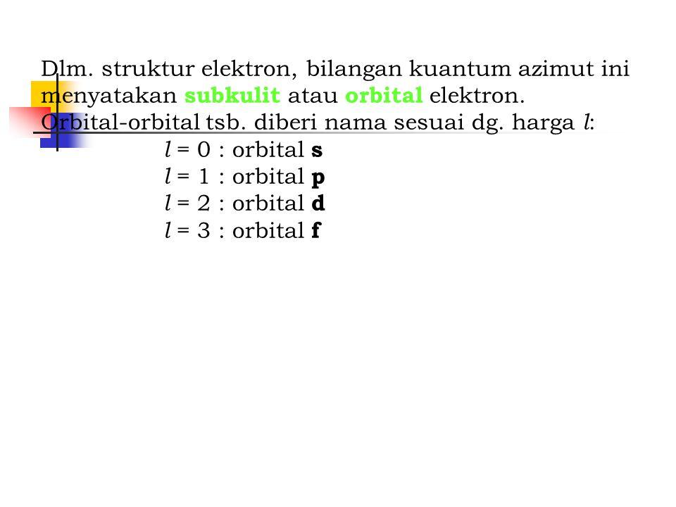 Dlm. struktur elektron, bilangan kuantum azimut ini menyatakan subkulit atau orbital elektron.