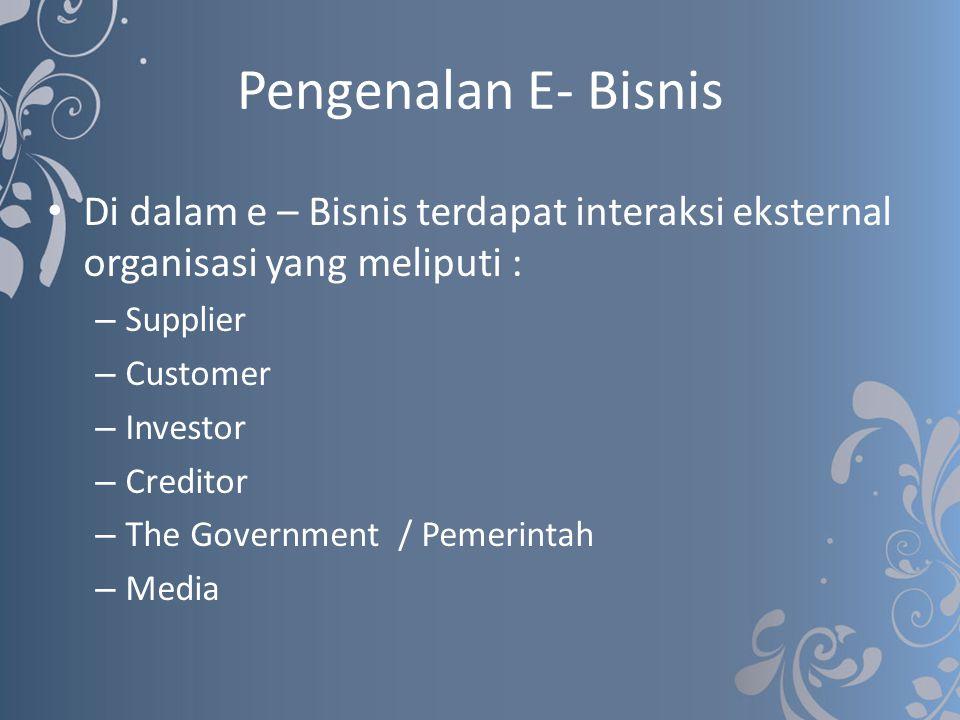 Pengenalan E- Bisnis Di dalam e – Bisnis terdapat interaksi eksternal organisasi yang meliputi : Supplier.