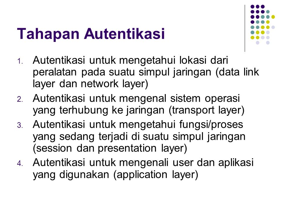 Tahapan Autentikasi Autentikasi untuk mengetahui lokasi dari peralatan pada suatu simpul jaringan (data link layer dan network layer)