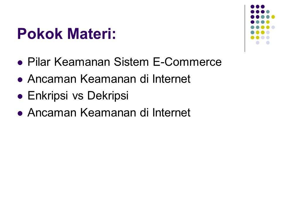 Pokok Materi: Pilar Keamanan Sistem E-Commerce