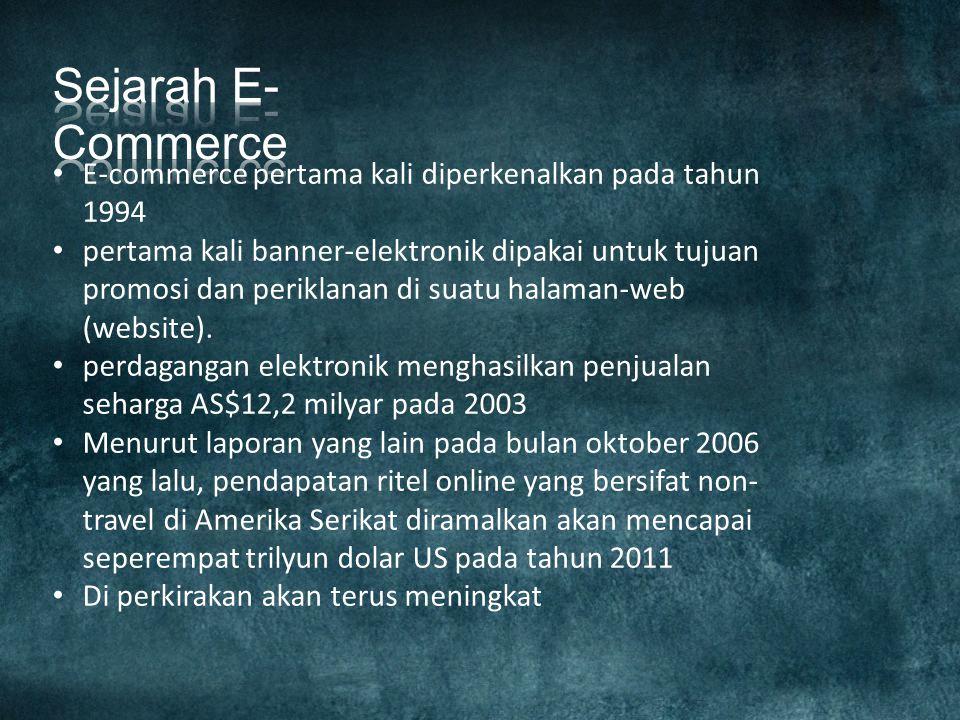 Sejarah E-Commerce E-commerce pertama kali diperkenalkan pada tahun 1994.