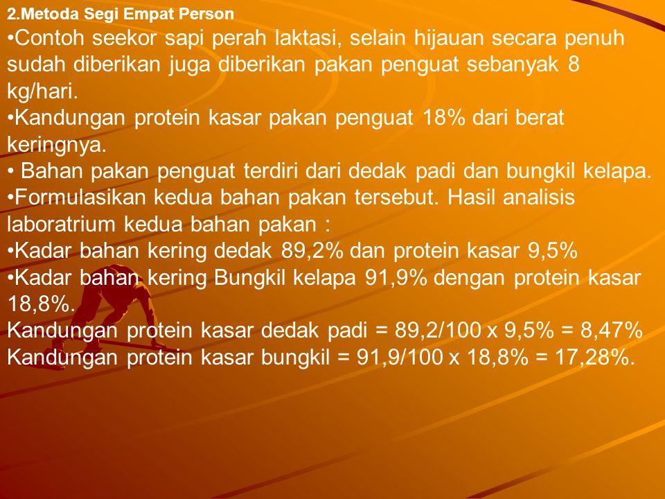Kandungan protein kasar pakan penguat 18% dari berat keringnya.