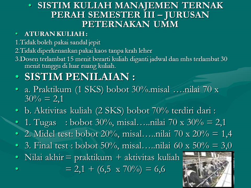 SISTIM KULIAH MANAJEMEN TERNAK PERAH SEMESTER III – JURUSAN PETERNAKAN UMM