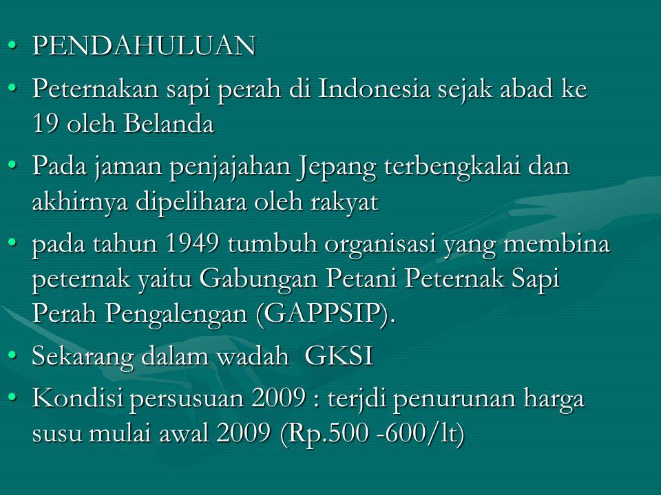 PENDAHULUAN Peternakan sapi perah di Indonesia sejak abad ke 19 oleh Belanda.