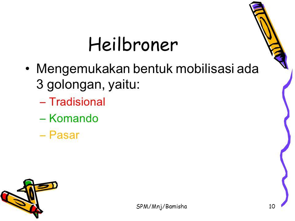 Heilbroner Mengemukakan bentuk mobilisasi ada 3 golongan, yaitu: