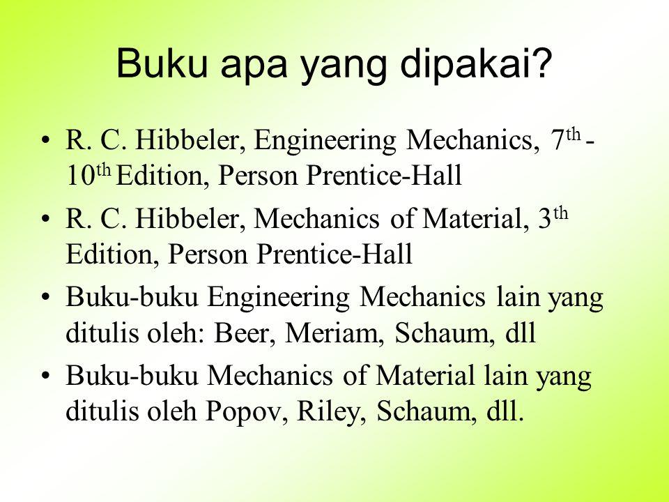 Buku apa yang dipakai R. C. Hibbeler, Engineering Mechanics, 7th - 10th Edition, Person Prentice-Hall.