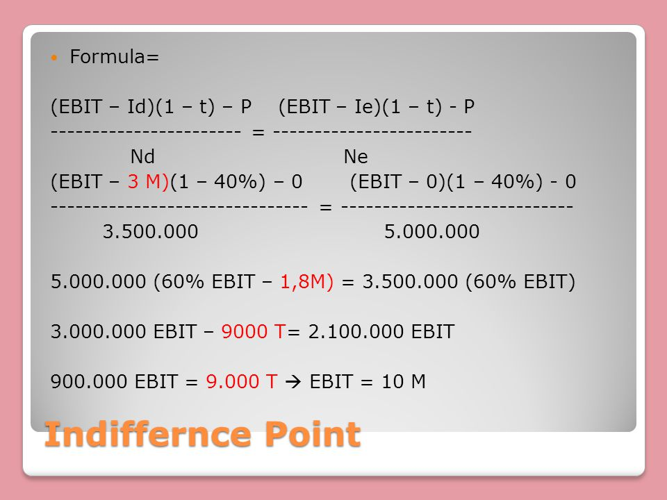 Indiffernce Point Formula=