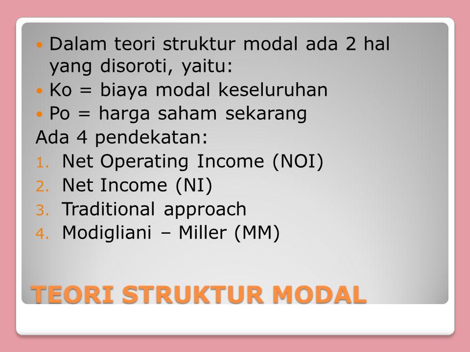 Dalam teori struktur modal ada 2 hal yang disoroti, yaitu: