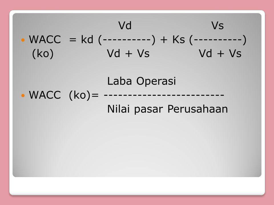 Vd Vs WACC = kd (----------) + Ks (----------) (ko) Vd + Vs Vd + Vs.