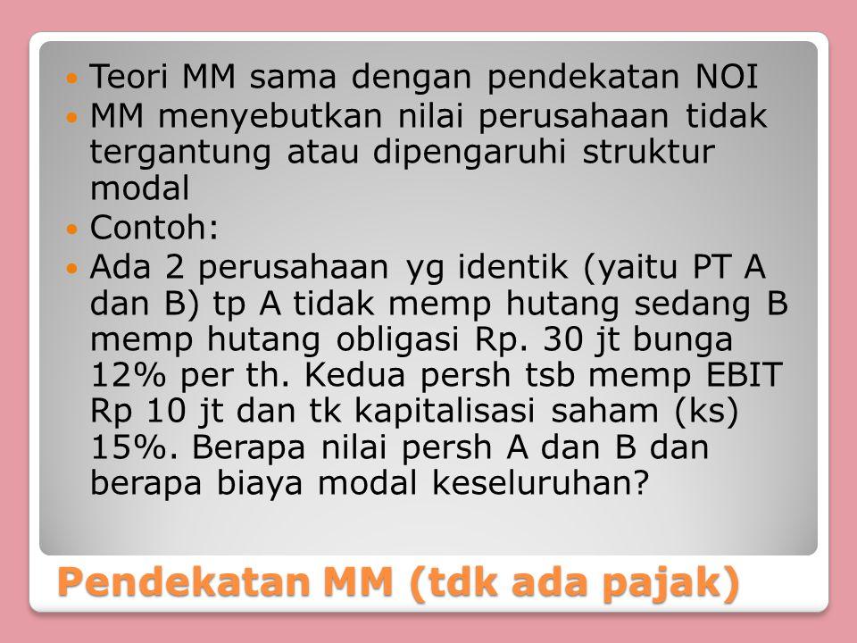 Pendekatan MM (tdk ada pajak)
