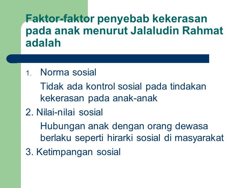 Faktor-faktor penyebab kekerasan pada anak menurut Jalaludin Rahmat adalah