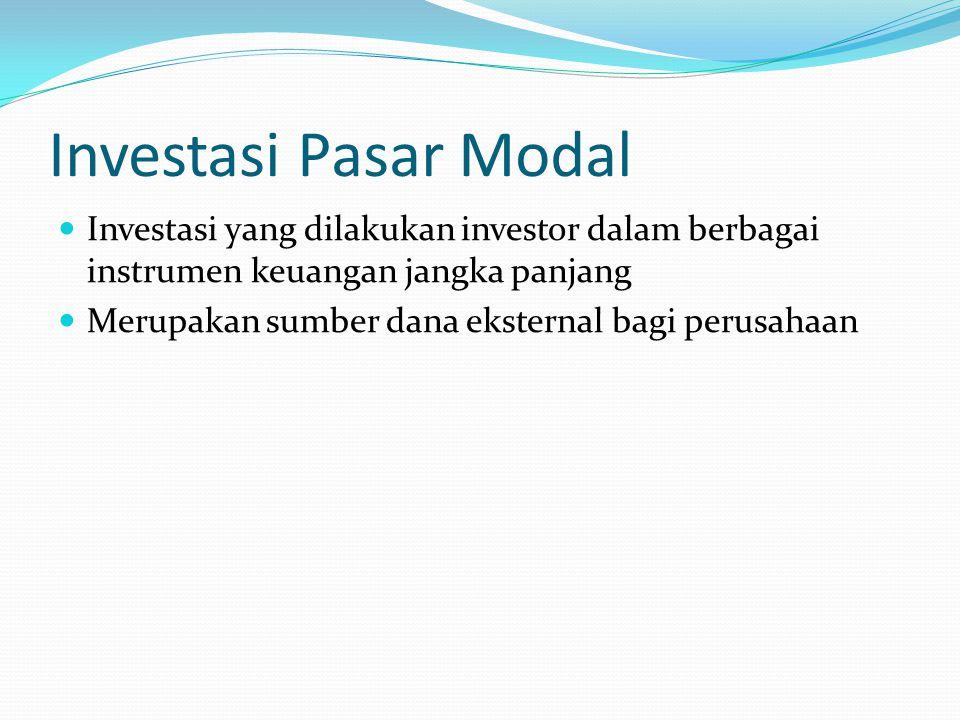 Investasi Pasar Modal Investasi yang dilakukan investor dalam berbagai instrumen keuangan jangka panjang.