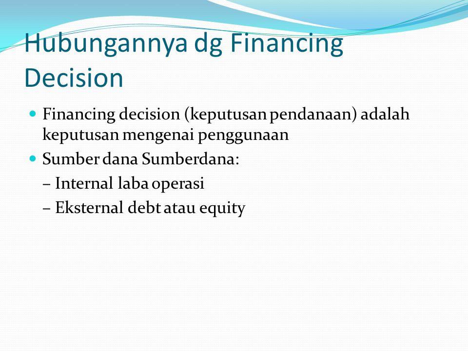 Hubungannya dg Financing Decision