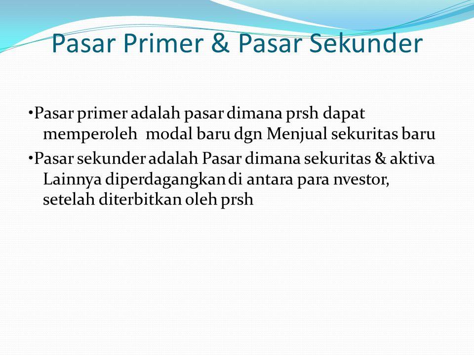 Pasar Primer & Pasar Sekunder