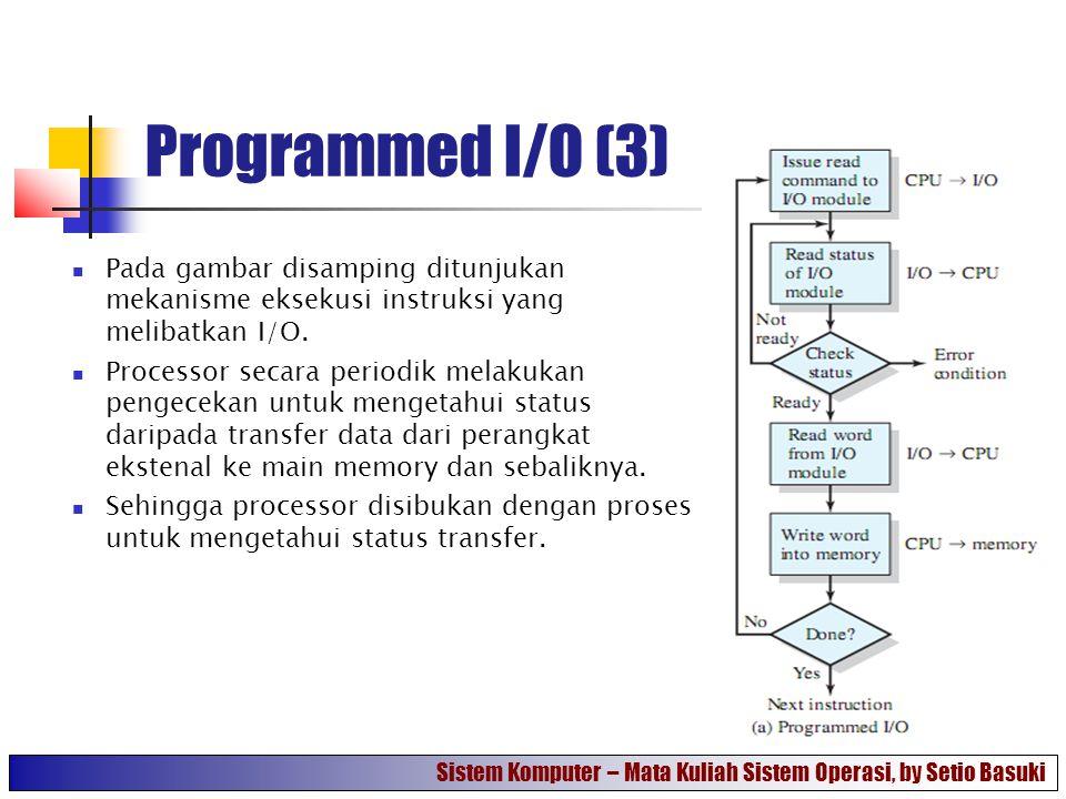Programmed I/O (3) Pada gambar disamping ditunjukan mekanisme eksekusi instruksi yang melibatkan I/O.