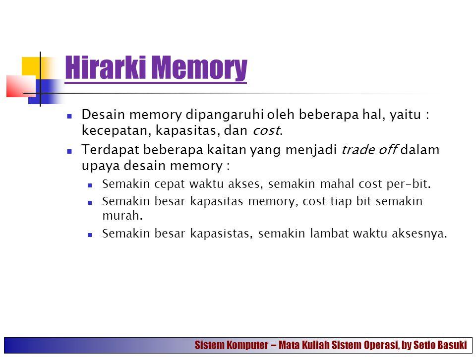 Hirarki Memory Desain memory dipangaruhi oleh beberapa hal, yaitu : kecepatan, kapasitas, dan cost.