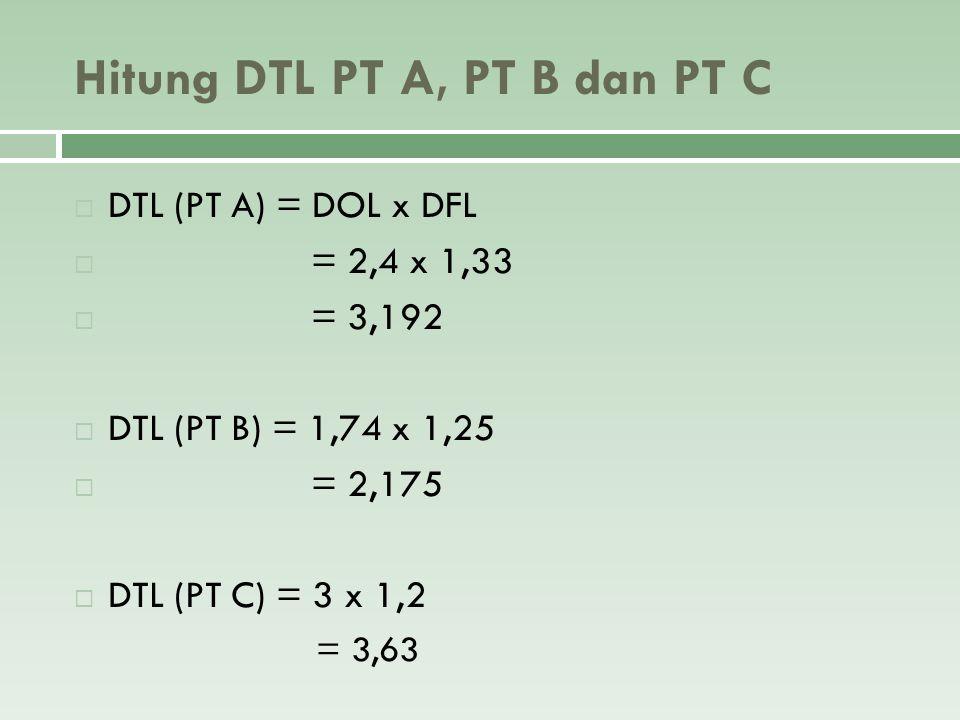 Hitung DTL PT A, PT B dan PT C