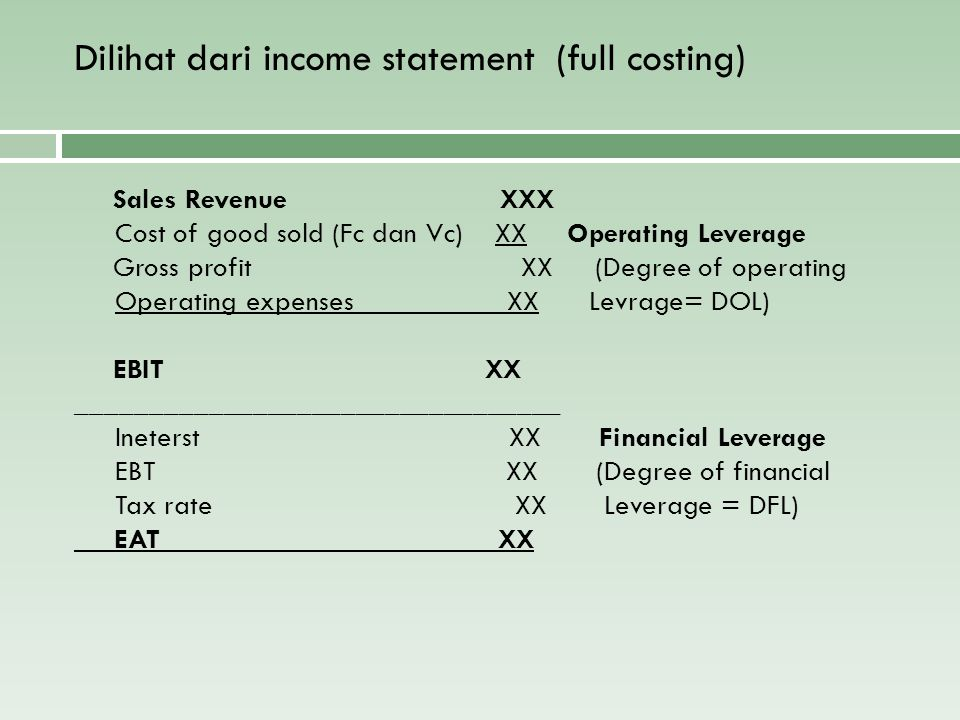 Dilihat dari income statement (full costing)