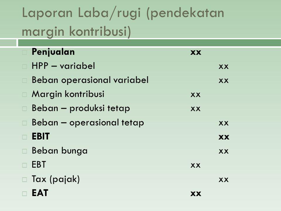 Laporan Laba/rugi (pendekatan margin kontribusi)