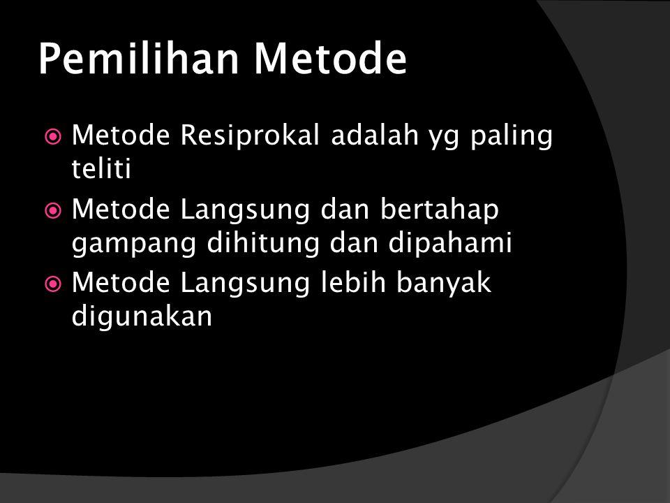 Pemilihan Metode Metode Resiprokal adalah yg paling teliti