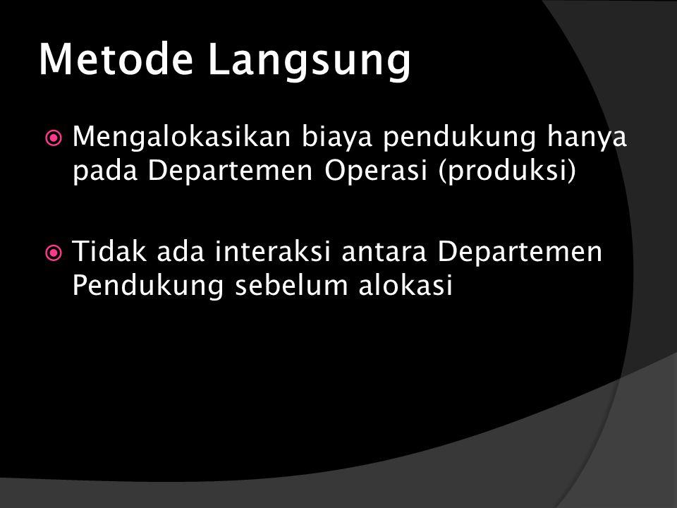 Metode Langsung Mengalokasikan biaya pendukung hanya pada Departemen Operasi (produksi)