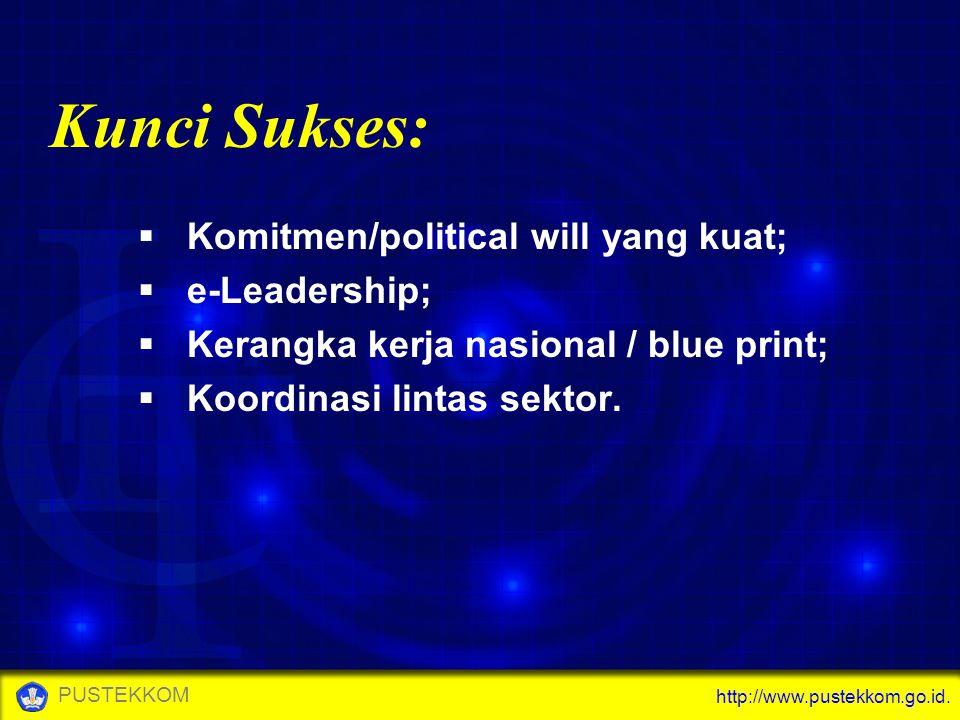 Kunci Sukses: Komitmen/political will yang kuat; e-Leadership;