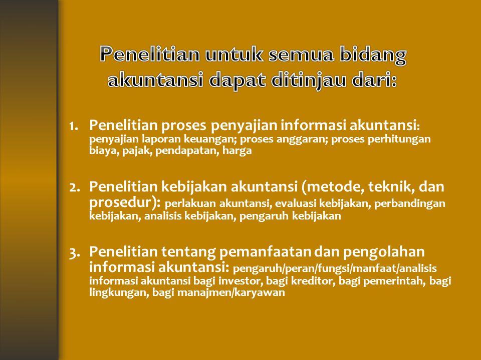 Penelitian untuk semua bidang akuntansi dapat ditinjau dari: