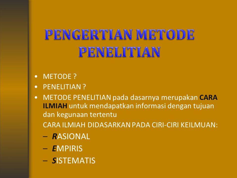 PENGERTIAN METODE PENELITIAN