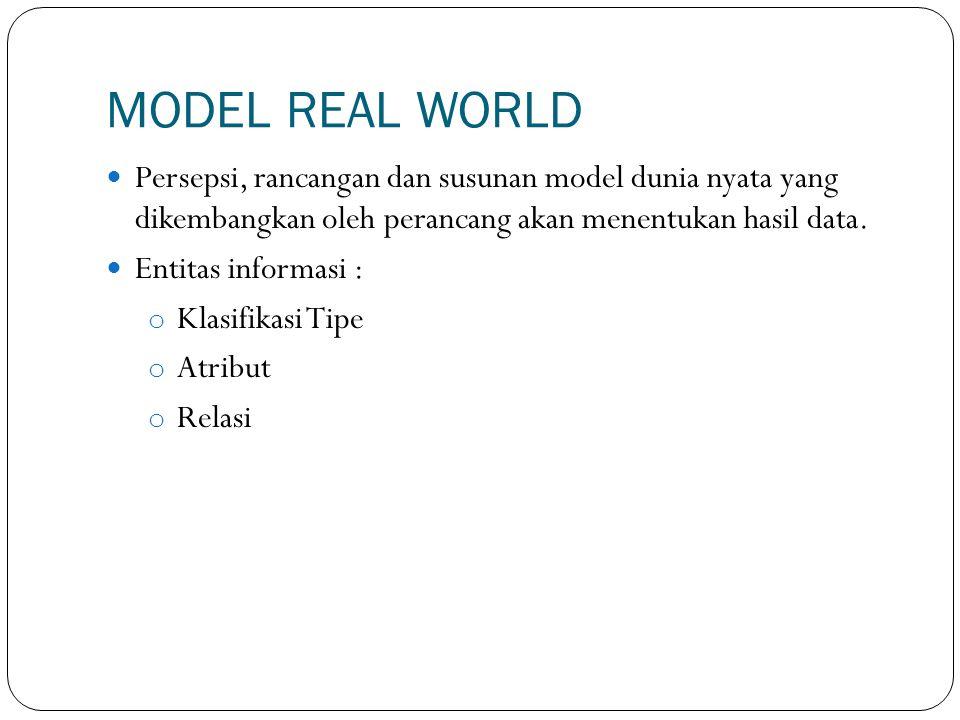 MODEL REAL WORLD Persepsi, rancangan dan susunan model dunia nyata yang dikembangkan oleh perancang akan menentukan hasil data.