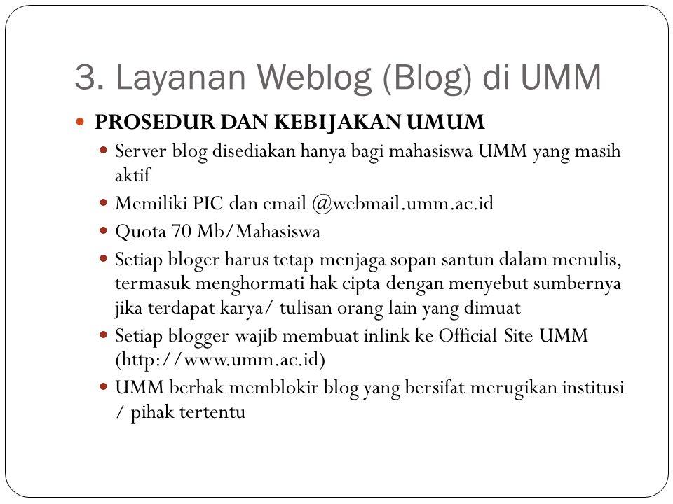 3. Layanan Weblog (Blog) di UMM