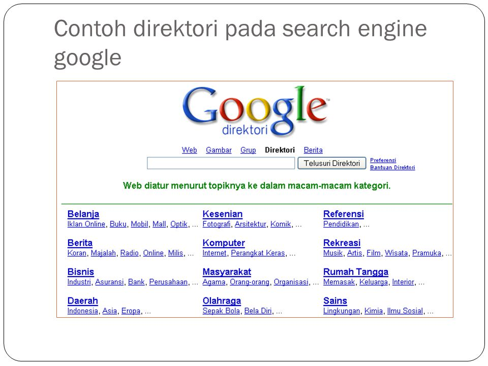 Contoh direktori pada search engine google