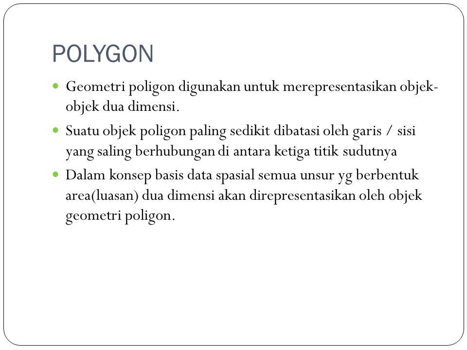 POLYGON Geometri poligon digunakan untuk merepresentasikan objek- objek dua dimensi.