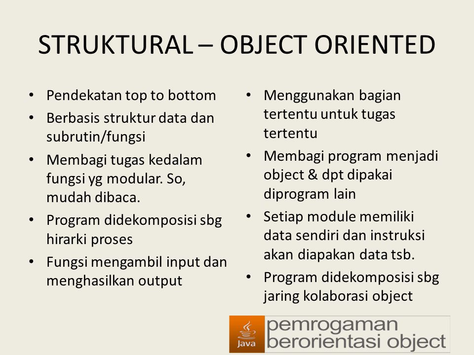 STRUKTURAL – OBJECT ORIENTED