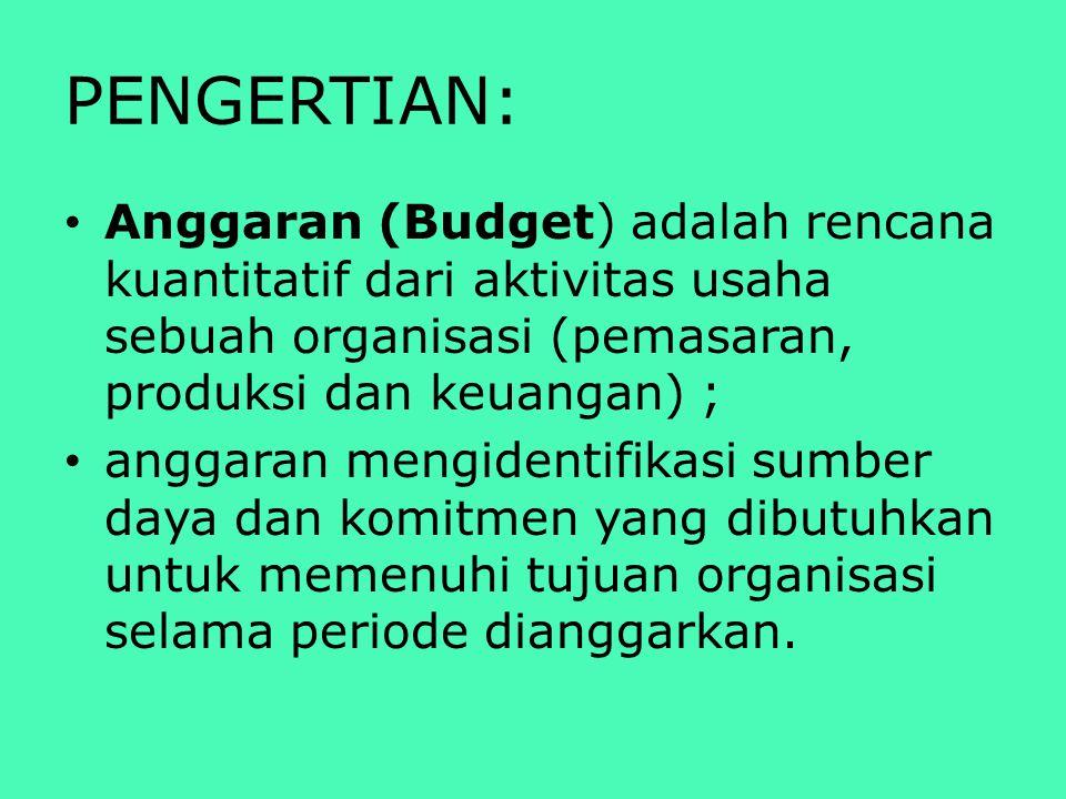 PENGERTIAN: Anggaran (Budget) adalah rencana kuantitatif dari aktivitas usaha sebuah organisasi (pemasaran, produksi dan keuangan) ;