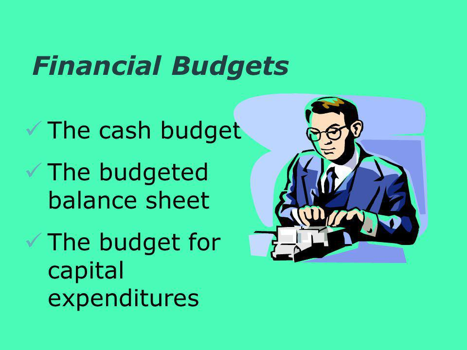 Financial Budgets The cash budget The budgeted balance sheet The budget for capital expenditures