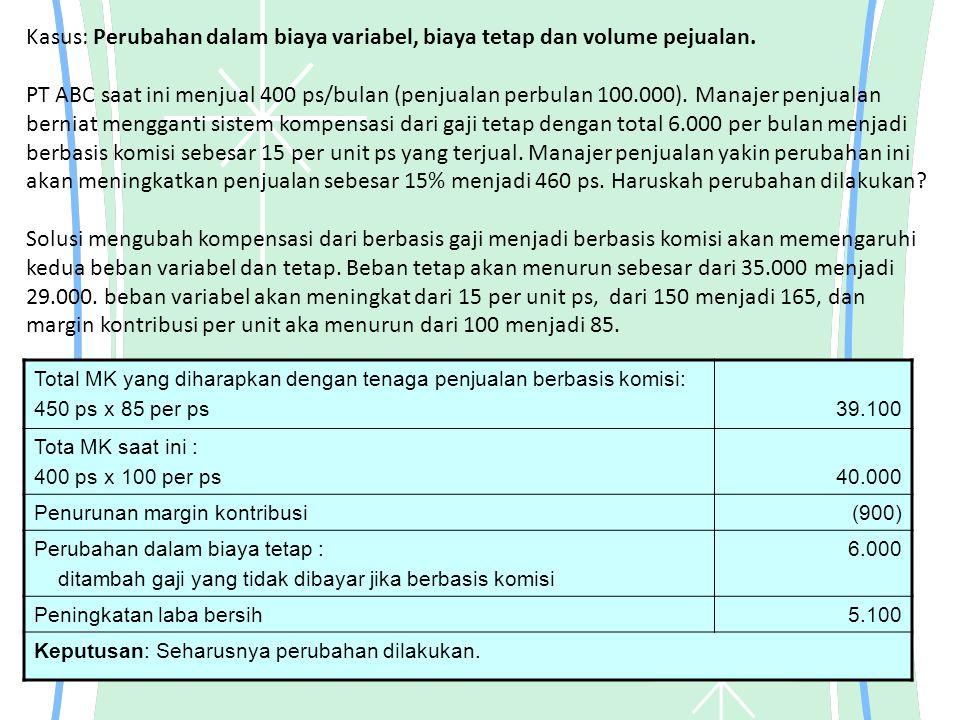 Kasus: Perubahan dalam biaya variabel, biaya tetap dan volume pejualan