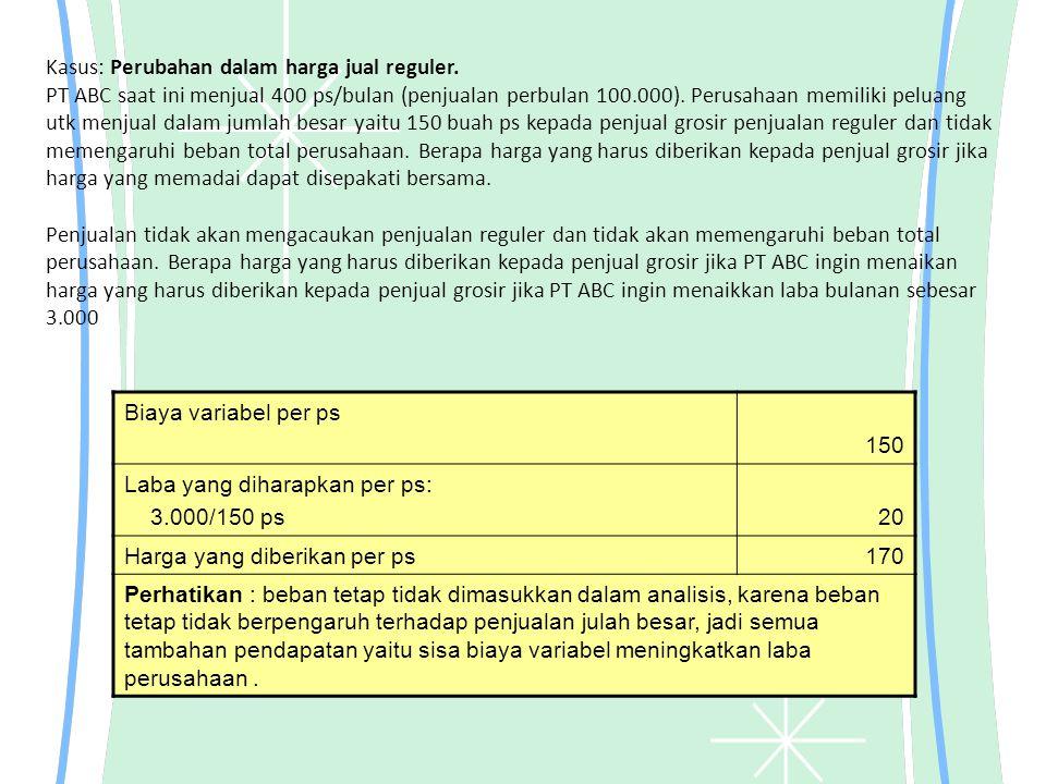 Kasus: Perubahan dalam harga jual reguler
