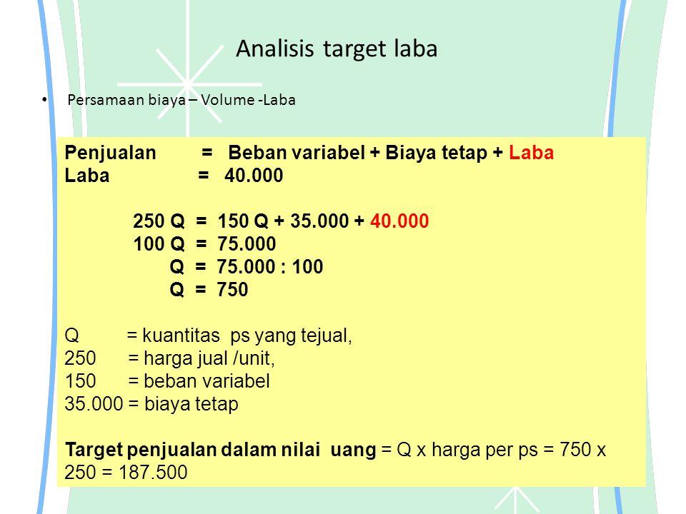 Analisis target laba Penjualan = Beban variabel + Biaya tetap + Laba