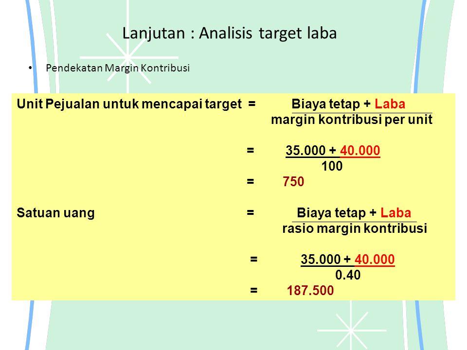 Lanjutan : Analisis target laba
