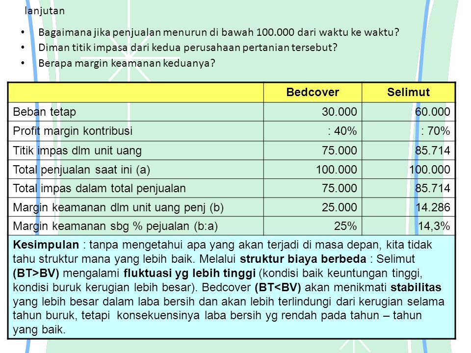 lanjutan Bagaimana jika penjualan menurun di bawah 100.000 dari waktu ke waktu Diman titik impasa dari kedua perusahaan pertanian tersebut